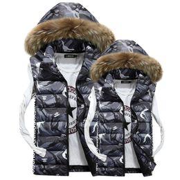 Wholesale Down Vest Fur Collar - Mens Autumn Lothing Fashion Casual Men's Camouflage Vest sleeveless jacket down jacket vest large fur collar winter gilet Men