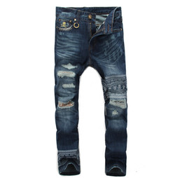 Wholesale Skull Jeans Men - Wholesale-2016 hottest ripped Printed jeans skull for men biker jeans fashion design hip hop motorcycle hole torn denim ripped trousers