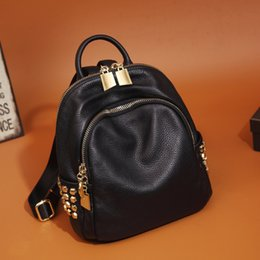 Wholesale College Korean Backpack - Shoulder bag female leather Korean version of the tide fashion mini simple layer of cow leather college wind wild small backpack female bag