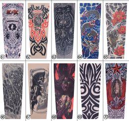 Wholesale Tattoos Sleeves For Women - 3D Print Tattoo 10pcs Temporary Fake Slip On 3D Tattoo Sleeve Arm Sleeves Kit Elastic Arm Stockings Tatoo for Cool Men Women