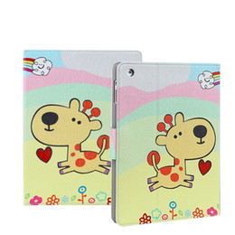 Wholesale Thin Cartoon Characters - Cartoon Deer book style pad cases for iPad Mini 2 3 4 Ultra thin artificial Leather Stand Case 9.7 inch iPad Pro Air 2 Folding Covers 2016
