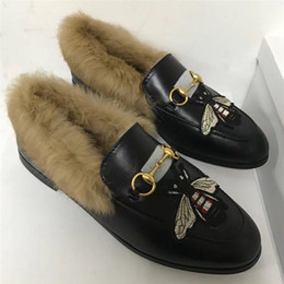 Wholesale Brand Shoes Online - Hot Online 2017 Women Winter Warm Shoes Real Rabbit Fur Brand Flats Luxury Designer Bee Tiger Snake Flower Fashion Chain Loafers Shoes C204