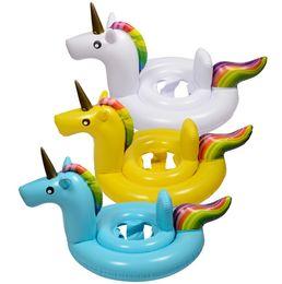 Wholesale Water Baby Seat - Unicorn Flamingo Swan Inflatable Float Swim Ring Baby Summer Toys Swan Swimming Seat Ring Water Toys Beach Toys Children swimming ring LLFA