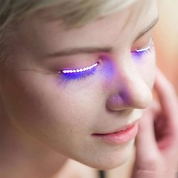 Wholesale Hair For Halloween - F.Lashes Interactive LED Eyelashes Fashion Glowing Eyelashes Waterproof for Dance Concert Christmas Halloween Nightclub Party