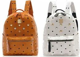 Wholesale Houndstooth Mens Fashion - 100% High Quality New Arrival Fashion Mens Womens Punk Rivet Backpack School Bag Unisex Backpack Student Bag Men Travel STARK BACKPACK
