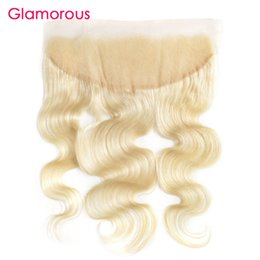 Wholesale Russian Parts - Blonde Human Hair Lace Frontals Bleached Knots 613 Brazilian Hair Frontals Glamorous Peruvian Indian Russian Ear to Ear Lace Frontal