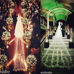 Wholesale Cathedral Veil 5m - 2018 New Bridal Veils Cathedral Length Lace Applique 5m Long Wedding Veil Ivory Or White Veil With Free Comb