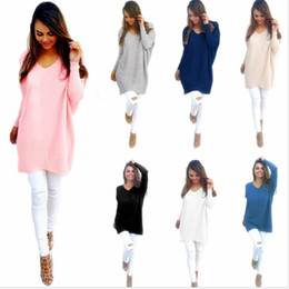 Wholesale womens gray sweater - Womens Oversize Jumper Tops Ladies Loose Casual Sweater Blouse Shirt Womens Knits