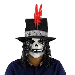 Wholesale Masquerade Wigs - Wholesale-Horror Ghost Latex Mask Long Wig Count Skull Masquerade Halloween Toy for Kids Mascaras Halloween Terror