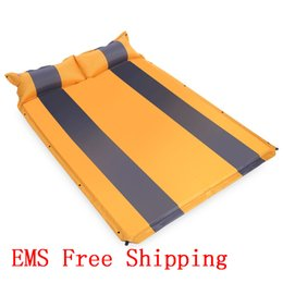 Wholesale Activity Pads - Wholesale- 4 Colors Two Person Camping Mat Automatic Inflatable Mattress Sleeping Mat Pad Camping Mat With Pillow For Outdoor Activity