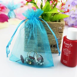 Argentina Lake Blue Bag 500pcs / lot Factory Wholesale Size 7 * 9cm Bolsas de regalo Jewerly Bags Organza Bag para el banquete de boda Cumpleaños Boutique Shopping Suministro