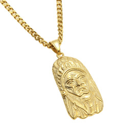 Wholesale Tribal Men Jewelry - Men Women Tribal Indian Chief Pendant Stainless steel Gold Silver Punk Metal Pendant Necklace Cuban Chain Hip hop Jewelry