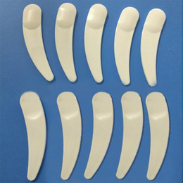 Wholesale Disposable Plastic Spoons - Wholesale-200pcs New Mini Cosmetic Spatula Scoop Disposable Mask White Plastic Spoon Makeup Maquillage Tools free shipping