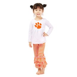 Wholesale Triple Ruffle - Halloween Baby Girls Clothing Set Long Sleeve Ruffle White Tees Triple Ruffle Girls Clothing Set Autumn 2pcs Ruffle Pants Set