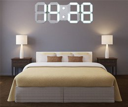 Wholesale Hours Wall - Wholesale-Acrylic 3D White Large Modern Digital Led Skeleton Wall Clock Timer 24 12 Hour Display 30.8x 12x 0.7cm