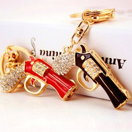 Wholesale Bag For Pistol - Hiphop Pistol Keychains For Teens Brand Design DIY Charm Keyrings Fahsion Bags Pendant Key Chains Accessories Gifts Wholesale