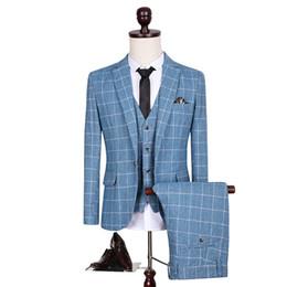 Wholesale Dress Blazer Set - Wholesale- (3 Pieces set) British Men Suit Blue Plaid Dress Slim Fit Tuxedo Blazer Set Spring Autumn Wedding Suits For Men Plus Size 5XL