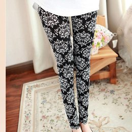 Wholesale Pants Porcelain - Wholesale- Multi Patterns Women Skinny Legging Pant Stripe Grid Porcelain Geometry Pencil Legwear