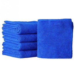 Wholesale Microfibre Cloths - 5pcs set Microfibre Cleaning Auto Soft Cloth Washing Cloth Towel Duster Blue Soft Absorbent Wash Cloth Car Auto Care 25*25cm
