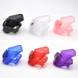 Wholesale Male Plastic Chastity Device - 2018 Male Short Perforated Design 3D Cock Cage With 3 Arc Penis Ring 5 Plastic Lock 1 Brass Built-in Lock Chastity Device Adult Sex Toy A373
