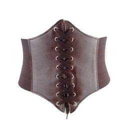 Wholesale Leather Corsets For Women - Wholesale- Fashion Faux Leather Belt Women Wide Waist Waistband Belt Corset Elastic Waspie Elastic Tied Waspie Belt For Femme Ceinture D12