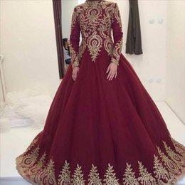Wholesale long sleeve red bandage dress - 2018 Burgundy Muslim High Neck Evening Dresses With Long Sleeves Gold Lace Appliques Ball Gown Prom dresses Vestido de Festa