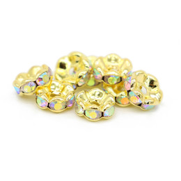 Wholesale Gold Loose Beads For Jewelry - 100Pcs Brass Crystal AB Rhinestones Wavy Edge Rondelle Spacer Beads Gold Plated Loose Bead 6 8 10 12mm for DIY Jewelry Making, IA02-06