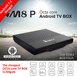 Wholesale Cheapest Wholesalers Uk - Cheapest Android 7.1 Amlogic S912 Octa Core KM8P android box video H.265 4K 1GB+8GB 2.4G WiFi KM8 P IPTV Europe Smart TV Box Media Player