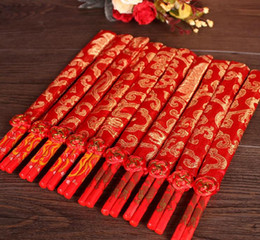 Wholesale Silk Favor Pouch - Best Wedding Favor Gift Fashion Chinese Bamboo Wooden Chopsticks Favors With Silk Pouch DHL Free Shipping