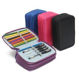Wholesale Layer School Bags - Wholesale-72 Holes 4 Layer Portable Oxford School Pencil Case Colored Pencils Pen Pouch Brush Holder Pockets Bag School Art Supplies