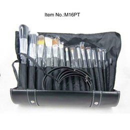Wholesale Professional Makeup Kit 16 - New Professional 16 Pieces Brush Sets+Leather Pouch 16pcs Makeup Brushes Free Shipping
