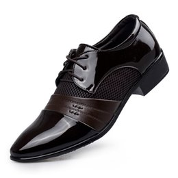 Wholesale Leather Dress 12 - Man Dress Shoes Flat Shoes Luxury Men's Business Oxfords Casual Shoe Black   Brown Leather Derby Shoes wedding Big US size 6-12