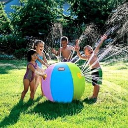 Wholesale Sprinkler Toys - Wholesale-Children Baby Inflatable Water Ball Outdoor Beach Swimming Party Toys Summer Sprinkler Toy Beach Pool Toys