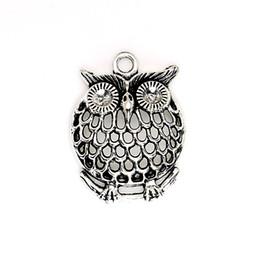 Wholesale Silver Tone Bird Charm Pendants - Wholesale- 10pcs Antique Silver Tone Owl Birds Charms Pendants for Jewelry Making DIY Handmade Craft 32x26mm D301