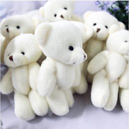 Wholesale Bouquet Teddy - Wholesale- 100pcs lot 12CM Promotion gifts white mini bear plush toy joint teddy bear bouquet doll cell phone accessories