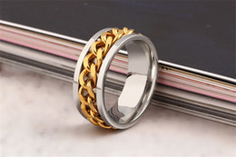 Wholesale Solid Gold Man Ring - Luxury Stainless Steel Rings Solid Gold Color For Women Men Design Vintage Silver Inlay Chain Ring Statement Jewelry Wholesale Free Shipping