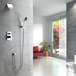 Wholesale Rain Shower Faucets - Rain Shower Faucet Wall Mount Waterfall Faucets with Single handles 4 Holes Shower Massage Panel