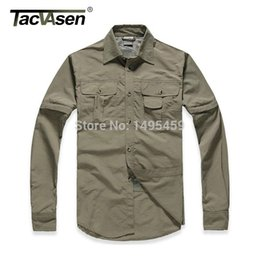 removable collar shirt Coupons - Wholesale- Men's Brand Shirt Men Removable Quick Dry Breathable Tactical Shirt Summer Traveling Long Sleeve Shirts