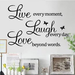 Wholesale Wall Art Stickers Quotes - Wall Sticker Hortative English Quote Live Love Decal Home Decor Removable Mordern Art Mural For Living Room Water Proof 3 5sc J R