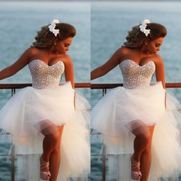 Wholesale Cheap Formal Gowns High Low - High Low Prom Dresses 2017 Elegant Sexy Sweetheart Pearls Formal Beach Party Gown Women Dress Cheap