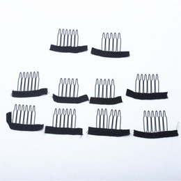 Wholesale Tools For Making Wigs - 50pcs Black color wig combs Wig clips and combs with 5teeth For Wig Cap and Wigs Making Combs hair extensions tools