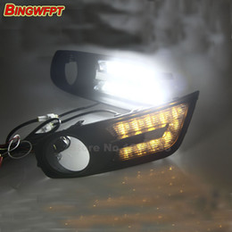 Wholesale Nissan Car Fog Lamp - Turn off and dimming style relay LED Car DRL Daytime Running Lights for Nissan Tiida 2012 2013 2014 2015 with fog lamp