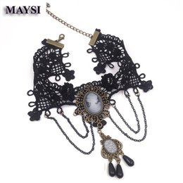 Wholesale Cameo Necklace Crystals - New Fashion Jewelry Retro Geometric Cameo Choker Crystal Inly Velvet Ribbon black lace Pendant Necklace women nc