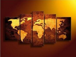 Wholesale 5pc Canvas Art - Framed Hot Sell New 5PC World Map,Handpainted Huge Modern fashion home Wall Deco Art Oil Painting On Canvas Mulit sizes Available daf