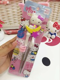 Wholesale Kids Training Chopsticks - Wholesale- Cute Cartoon Style Kids Children early Learning Training Designed Chopsticks Baby enlightenment Hello Kitty Chinese chopsticks