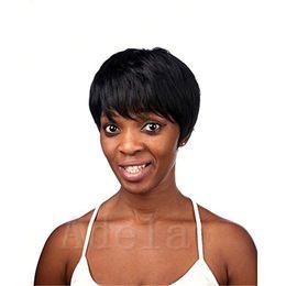 Wholesale Short Chic Wigs - top machine made none lace bob human short pixie hair wig Rihanna Chic cuts Short Straight Human Pixie Hair Wigs For Women