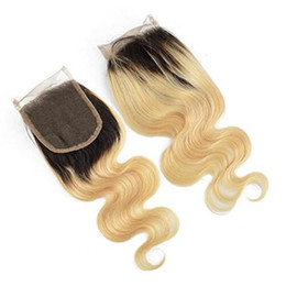 """Wholesale 12 X 16 - Dark Roots 1B 613 Ombre Blonde Brazilian Human Hair Closure Body Wave 4"""" x 4"""" 130% Denisty Swiss Lace Top Closure"""