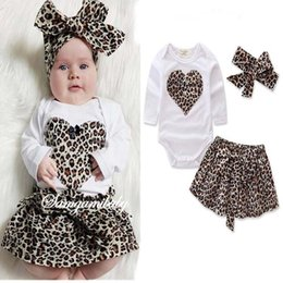 Wholesale Skirt Hair Band Baby - Ins LOVE leopard print Girls Baby Clothing 3pcs set Babies Clothes Infant Dress Suits Romper + hair band+ Skirts Toddler clothing A1127