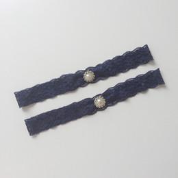 Wholesale Garters Crystals - 2017 New Royal Blue Lace Set Crystal Ribbon Bow Wedding Bridal Hen Gift Garters Leg Rings High Quality Pealrs