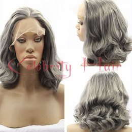 Wholesale Wig Gray Short - Short Grey Synthetic Lace Front Wigs Cheap Body Wave Heat Resistant Short Bob silver Wigs Gray Glueless Synthetic Hair Wigs